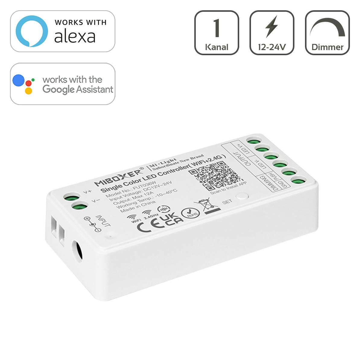 MiBoxer WIFI LED Dimmer 1 Kanal 12/24V LED Strip WiFi Tuya Alexa Google Steuerung FUT036W