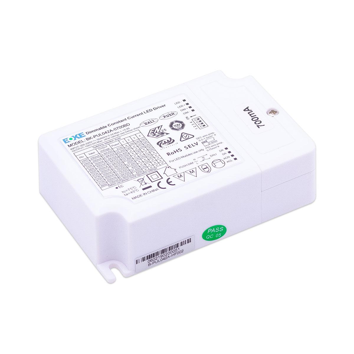LED Treiber 42W 3-84V 0.6-1.1A IP20 dimmbar DALI / 1-10V / PUSH, BOKE BK-PUL042A-0700BD Konstantstrom CC