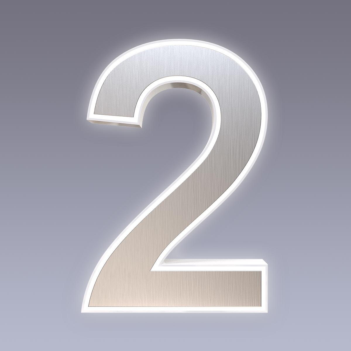 Cover für 15cm Hausnummer 2 Edelstahl Arial selbstklebend