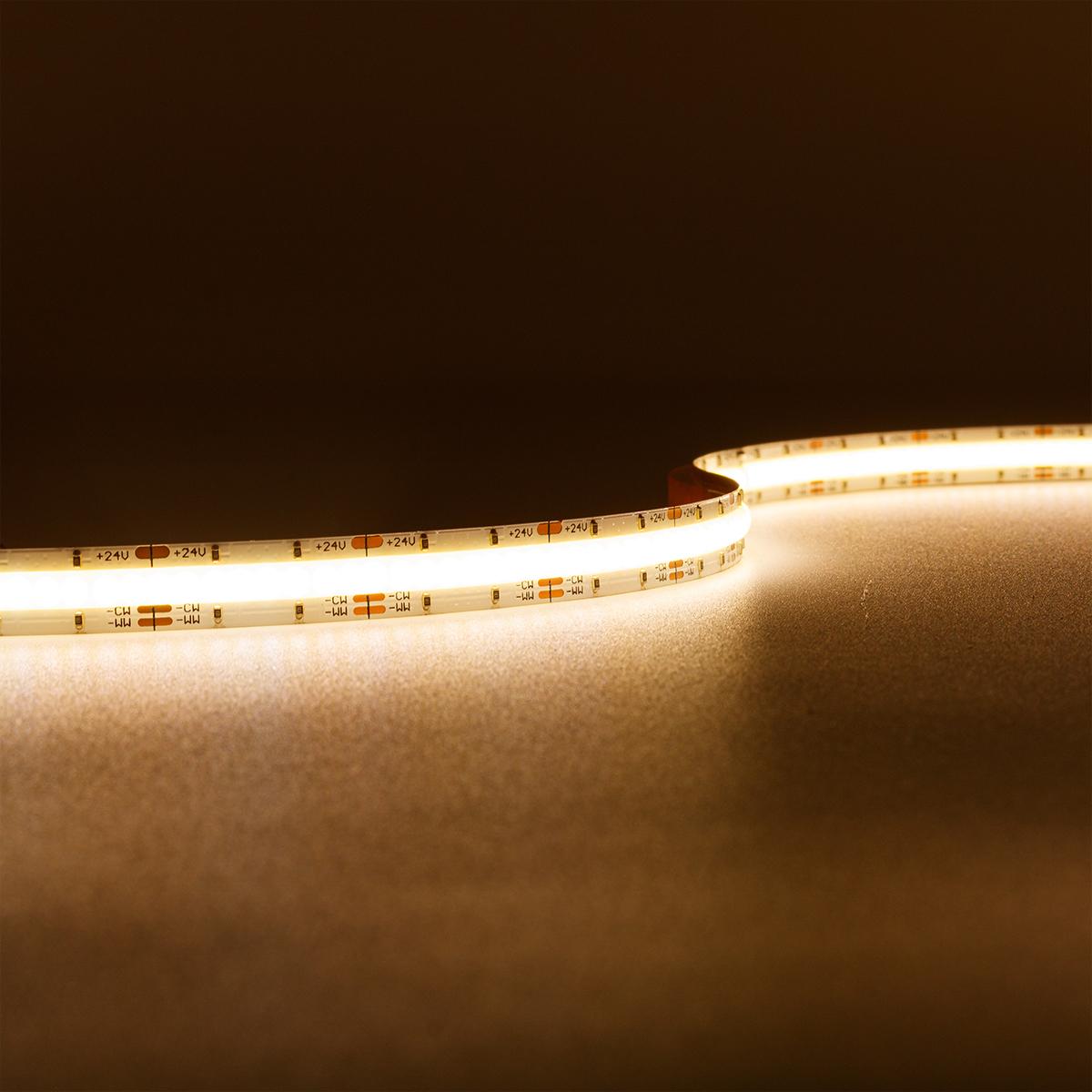 COB CCT Dual Weiß 24V LED Streifen 5M 8W/m 640LED/m 10mm IP20 Lichtfarbe einstellbar Warm-Kaltweiß 2700-6500K