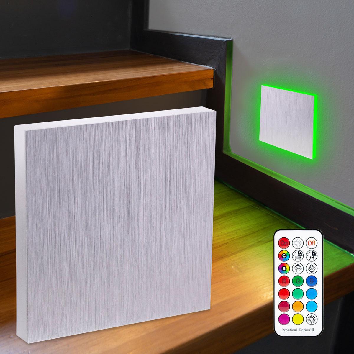 LED Treppenbeleuchtung Wandeinbauleuchte RGB+Warmweiß 230V 3W Alu-gebürstet Lichtaustritt seitlich