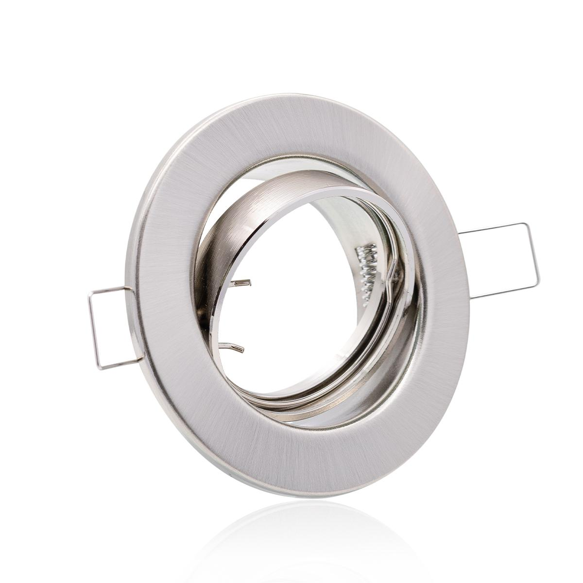 Einbaustrahler  Rahmen rund Edelstahl gebürstet Optik schwenkbar Ring Decken Spot Sprengring