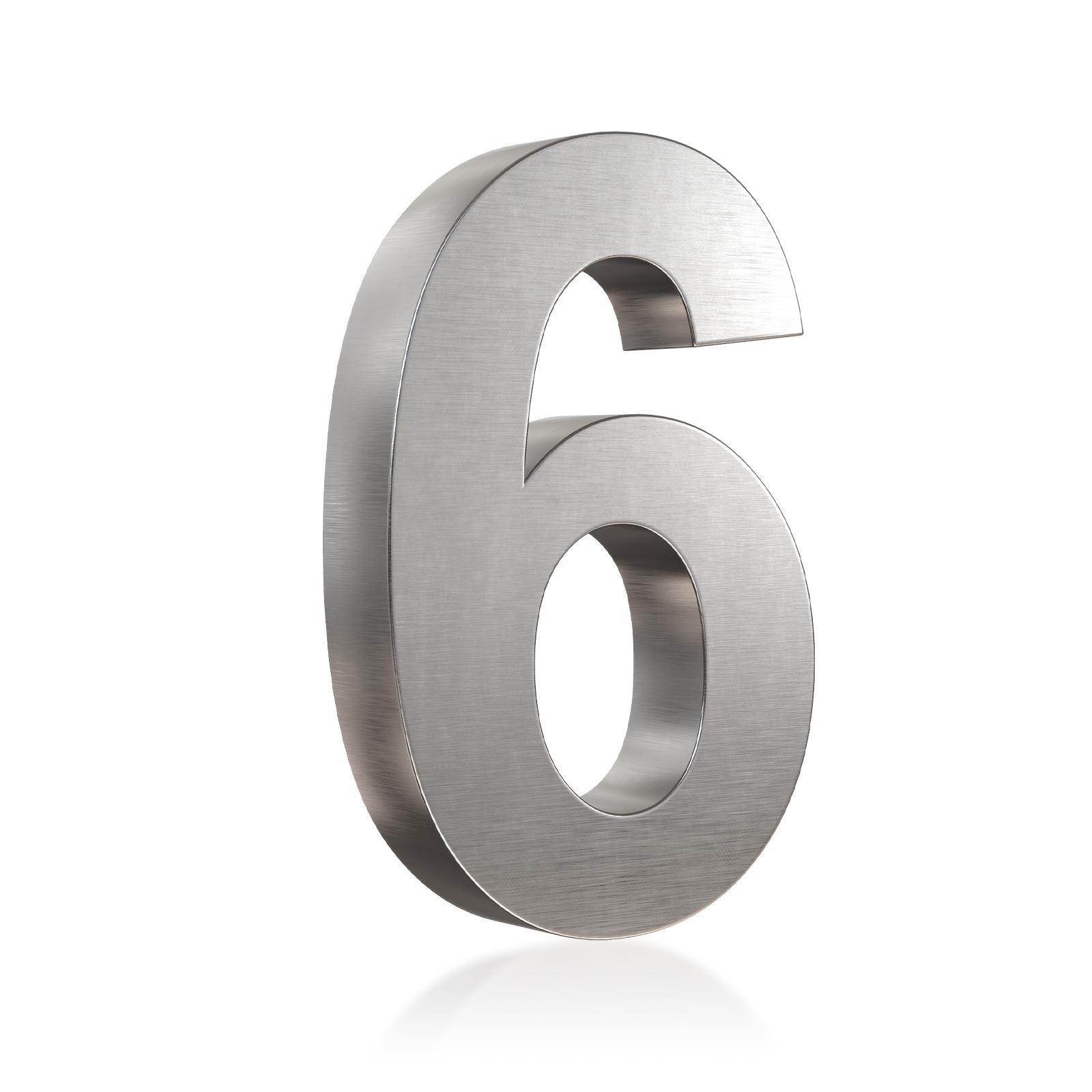 3D Hausnummer 6 Edelstahl in 3D Design Arial V2A