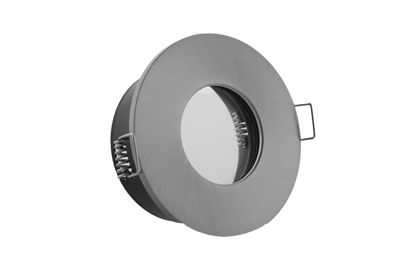 Einbaurahmen IP65 Ausschnitt Ø68mm + Klemmring Alu silber gebürstet rund