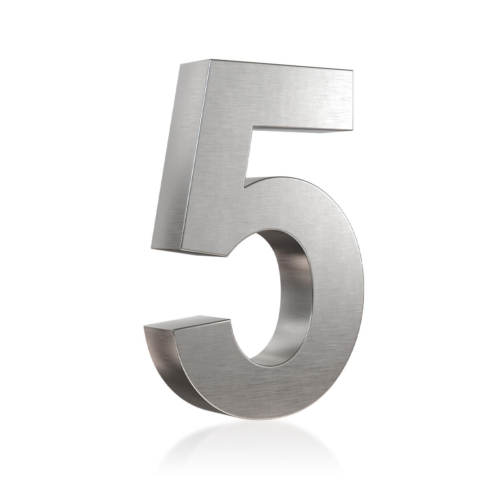 3D Hausnummer 5 Edelstahl in 3D Design Arial V2A