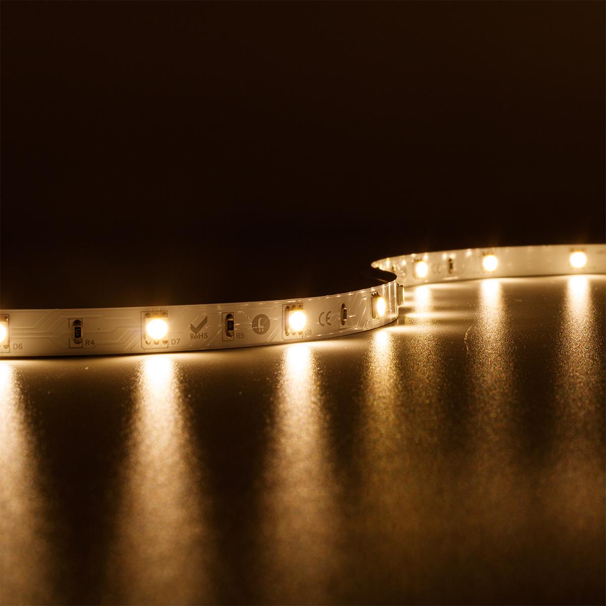 Strip Warmweiß 24V LED Streifen 5M 7,2W/m 30LED/m 10mm IP20 3000K