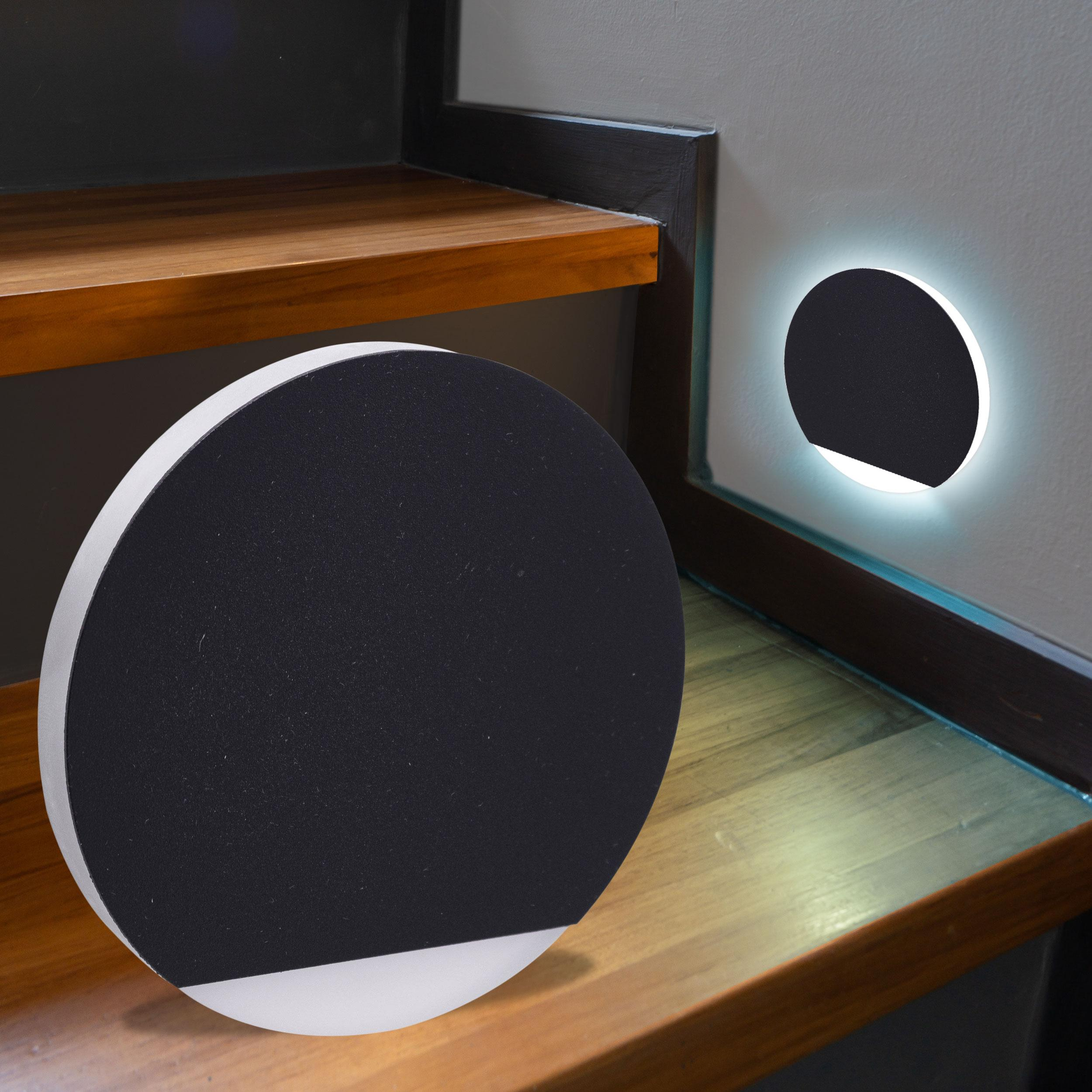 LED Treppenbeleuchtung rund Kaltweiß 230V 1.5W schwarz Lichtaustritt seitlich&frontal