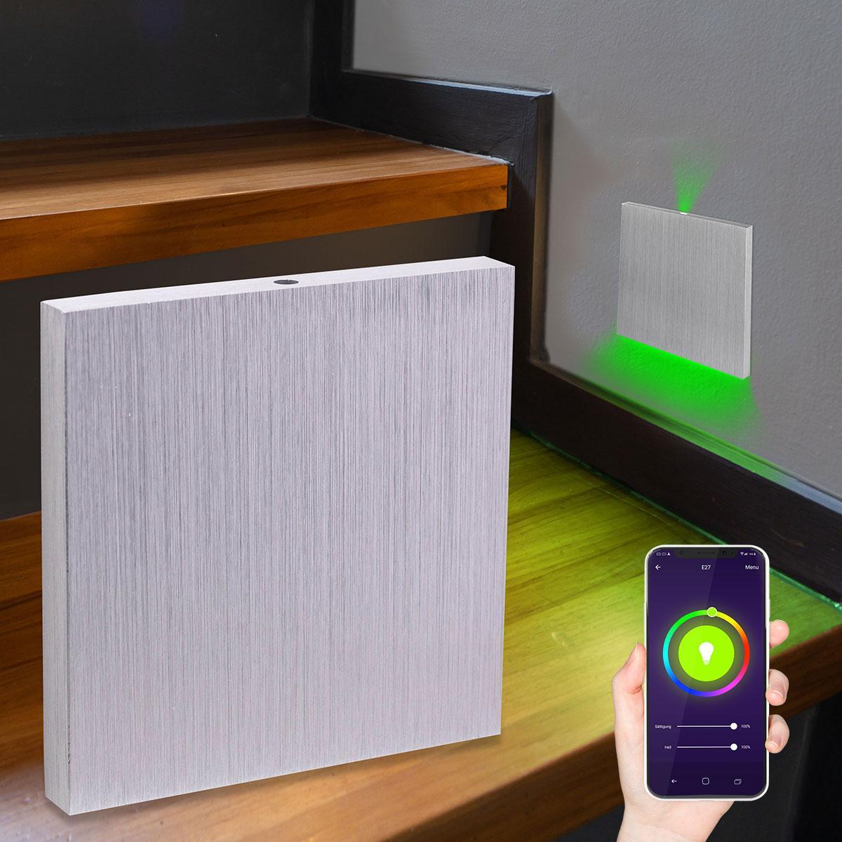LED Treppenlicht Wandeinbauleuchte Smart Tuya RGB+CCT 230V 5W Alu-gebürstet Lichtaustritt oben&unten