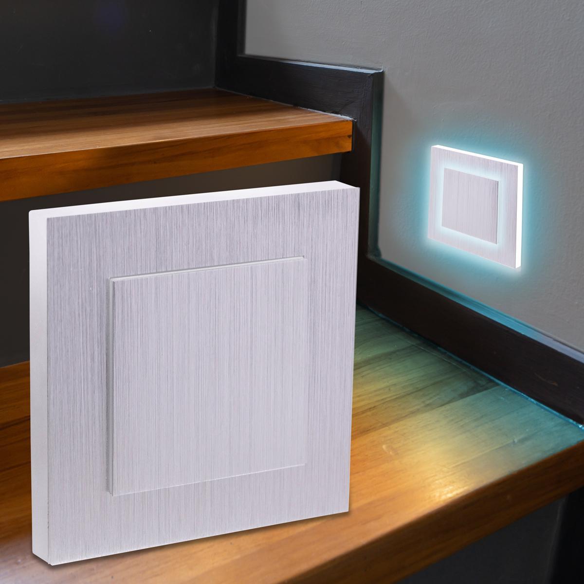LED Treppenbeleuchtung Wandeinbauleuchte Kaltweiß 230V 1.5W Alu-gebürstet Lichtaustritt seitlich/doppelt
