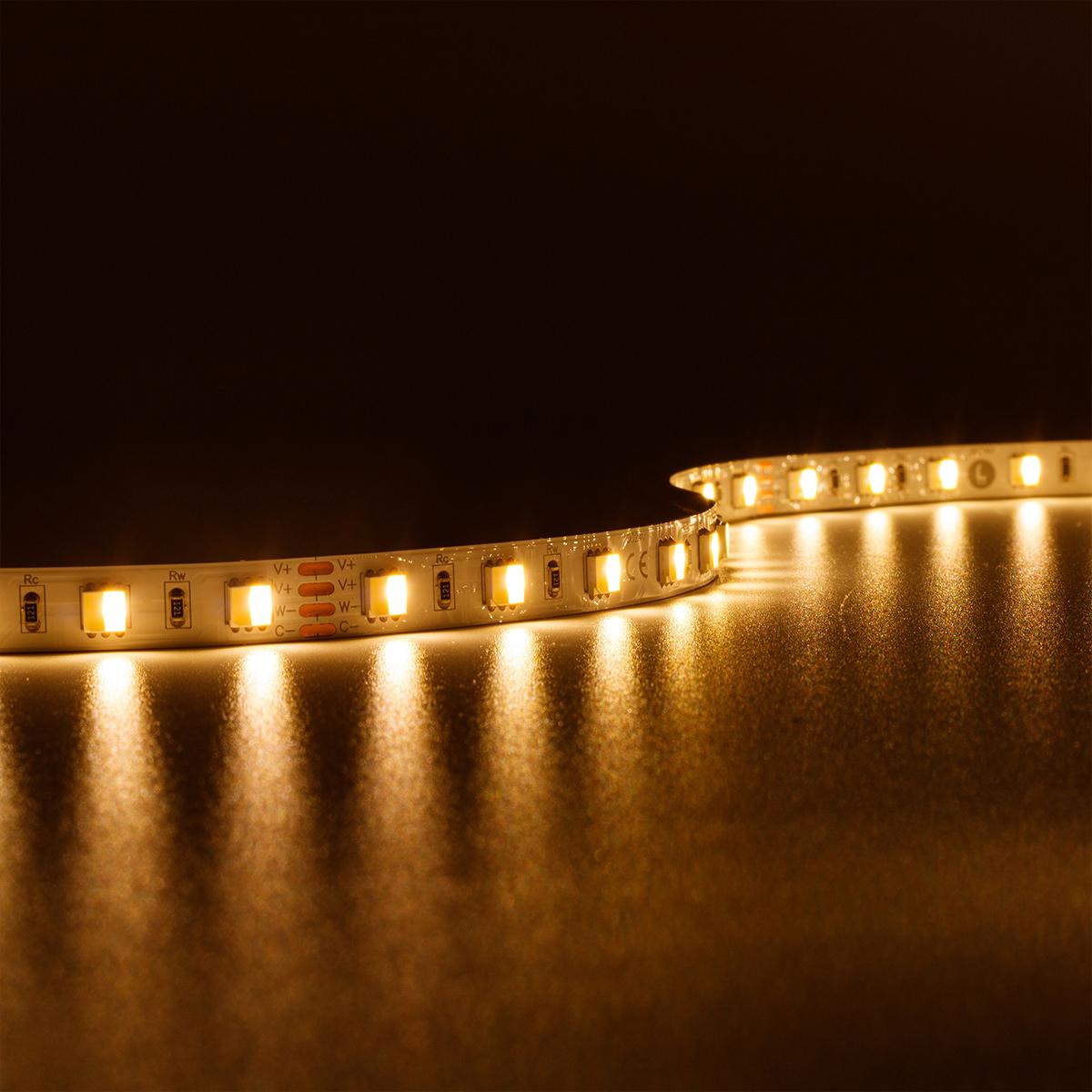 Strip CCT Dual Weiß 24V LED Streifen 5M 14,4W/m 60LED/m 10mm IP20 Lichtfarbe einstellbar 2700-6500K