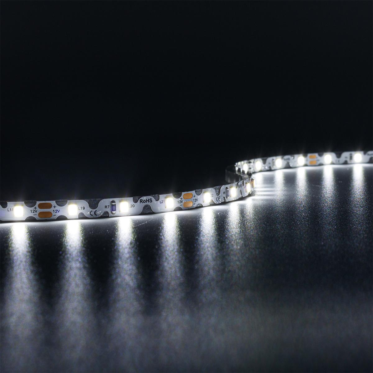 ZickZack Kaltweiß 12V LED Streifen 5M 8W/m 60LED/m 8mm IP20 6000K