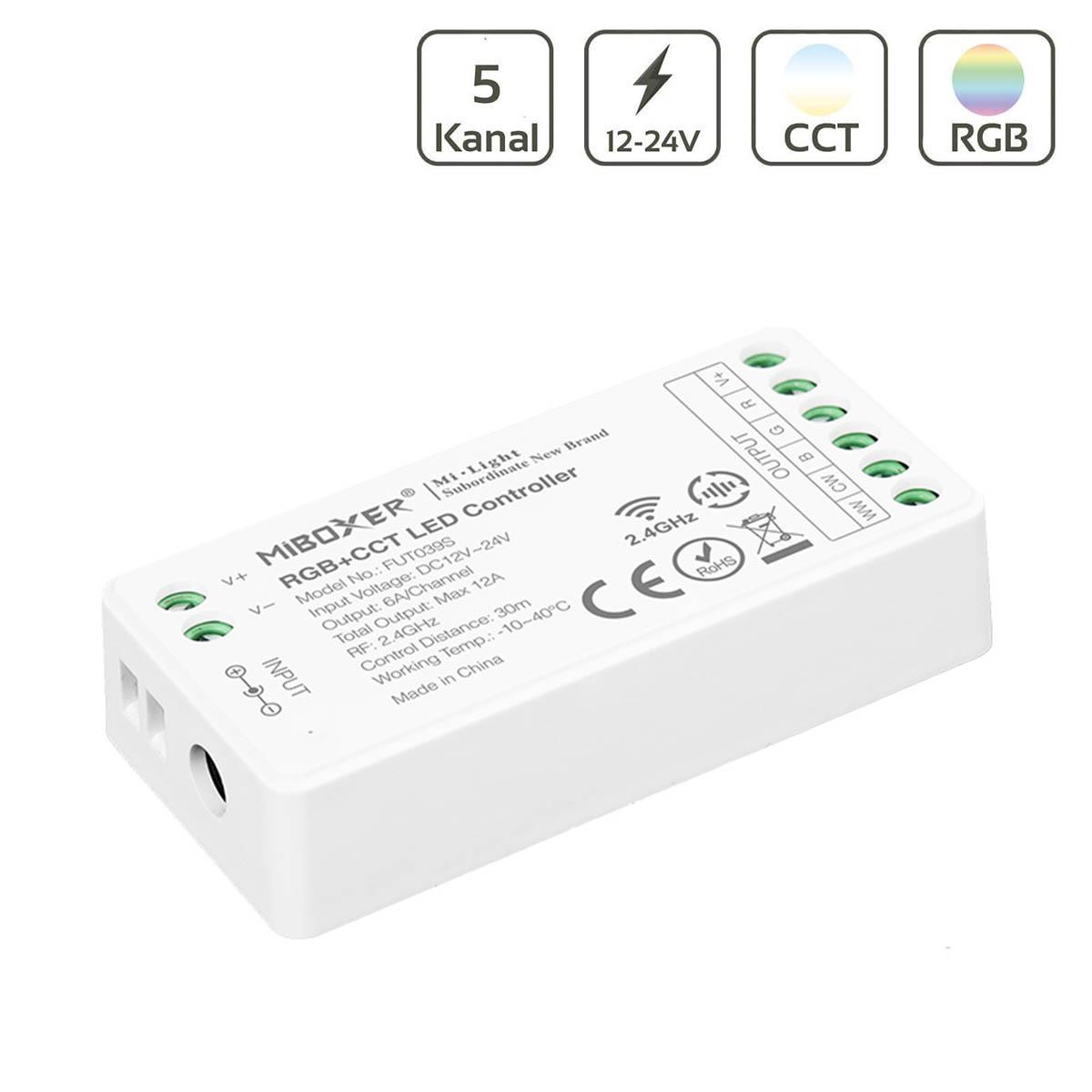 MiBoxer RGB+CCT Mini LED Controller 5 Kanal 12/24V Multifunktion LED Strip Panel Steuerung FUT039S