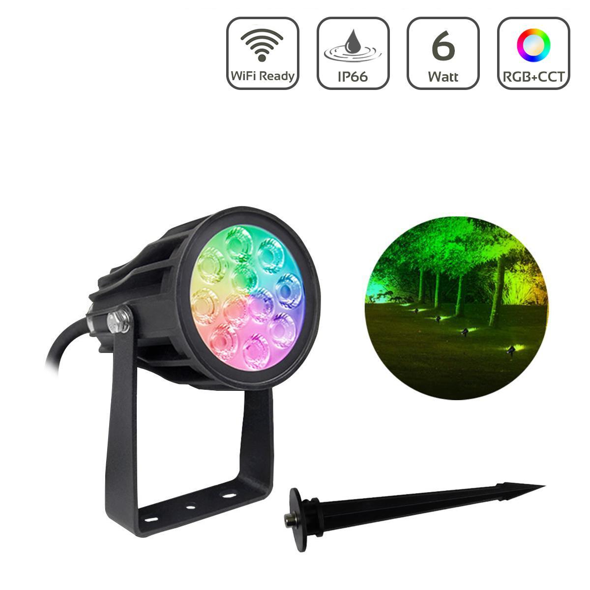 MiBOXER 6W 24V RGB+CCT LED Gartenstrahler WiFi Gartenleuchte mit Erdspieß  FUTC08