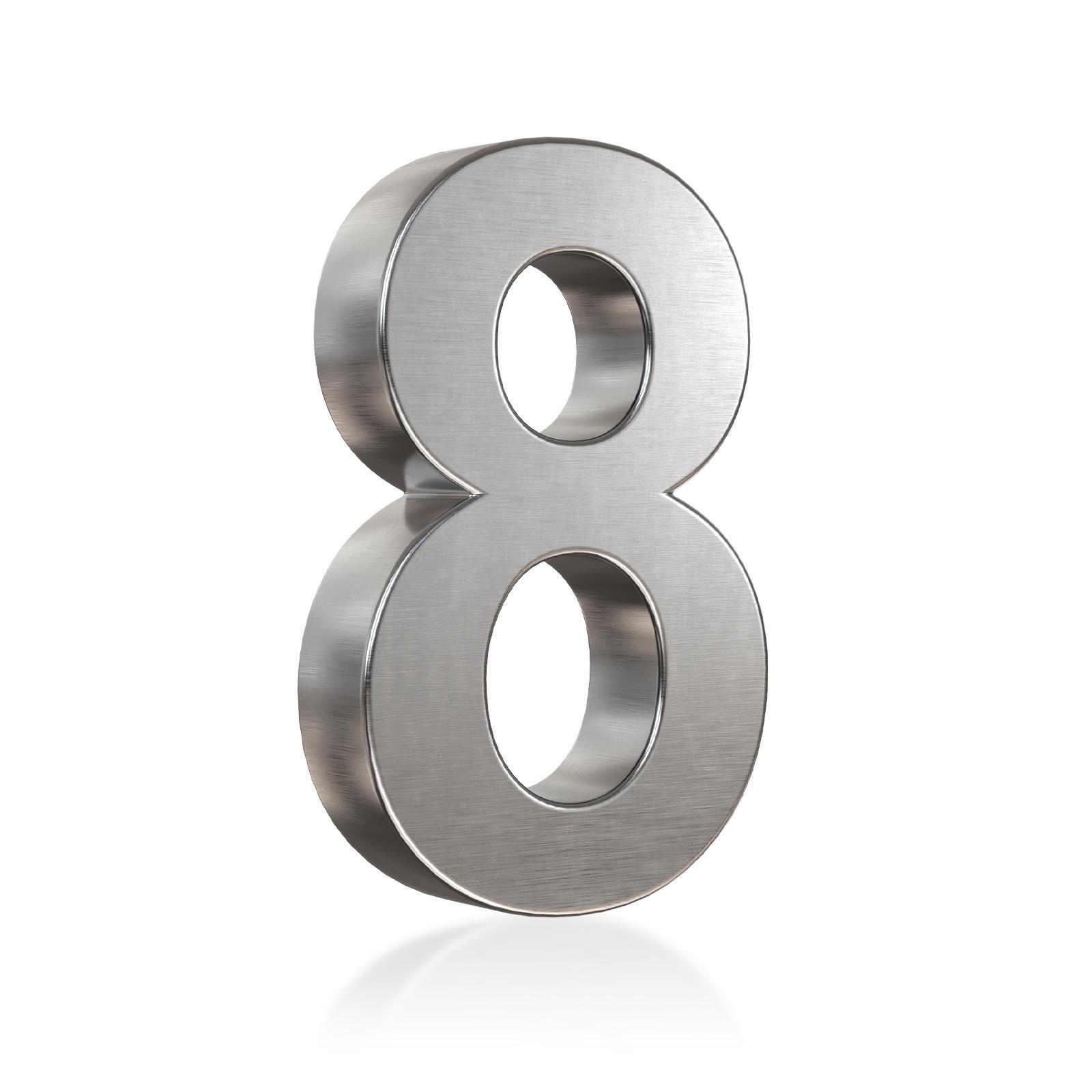 3D Hausnummer 8 Edelstahl in 3D Design Arial V2A