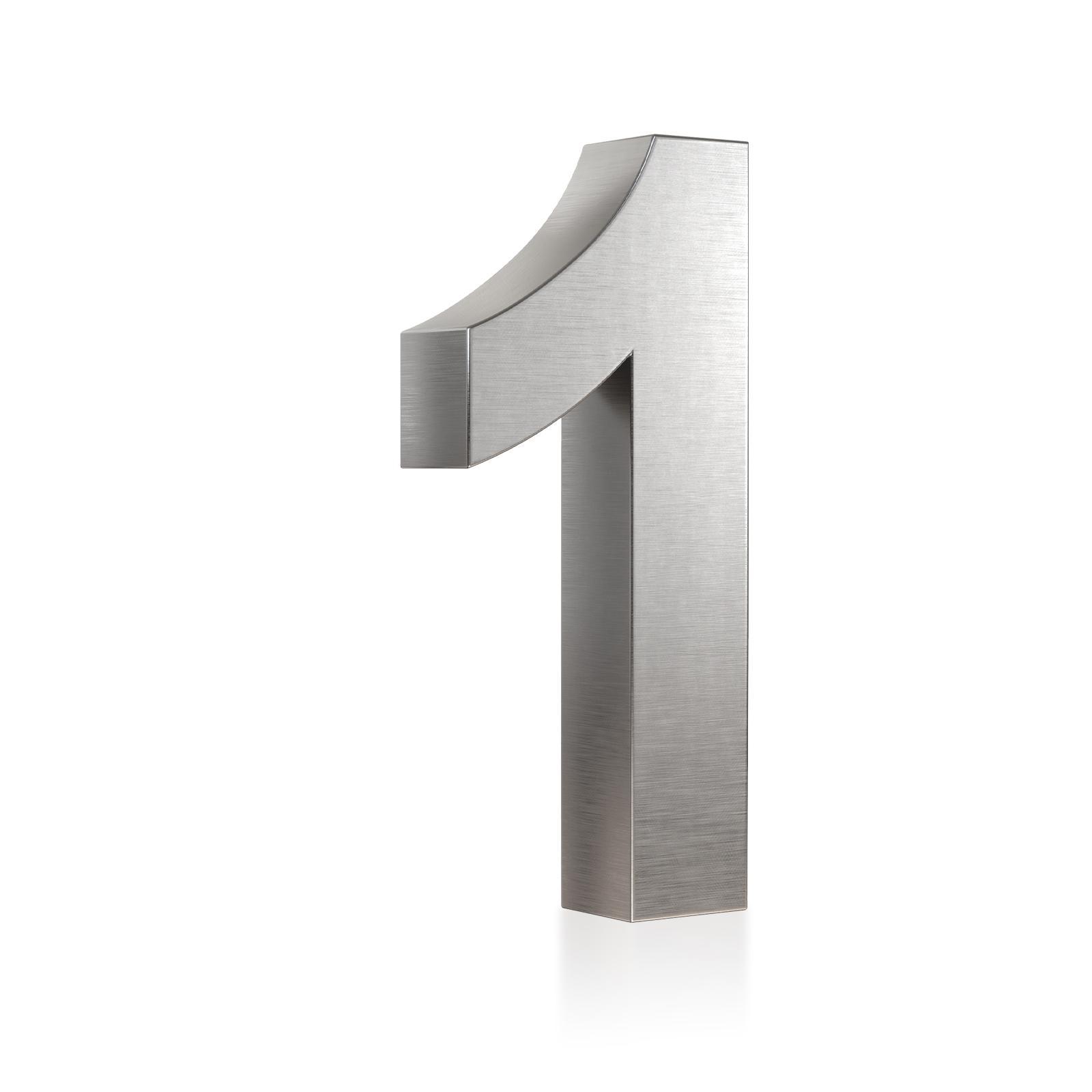 3D Hausnummer 1 Edelstahl in 3D Design Arial V2A