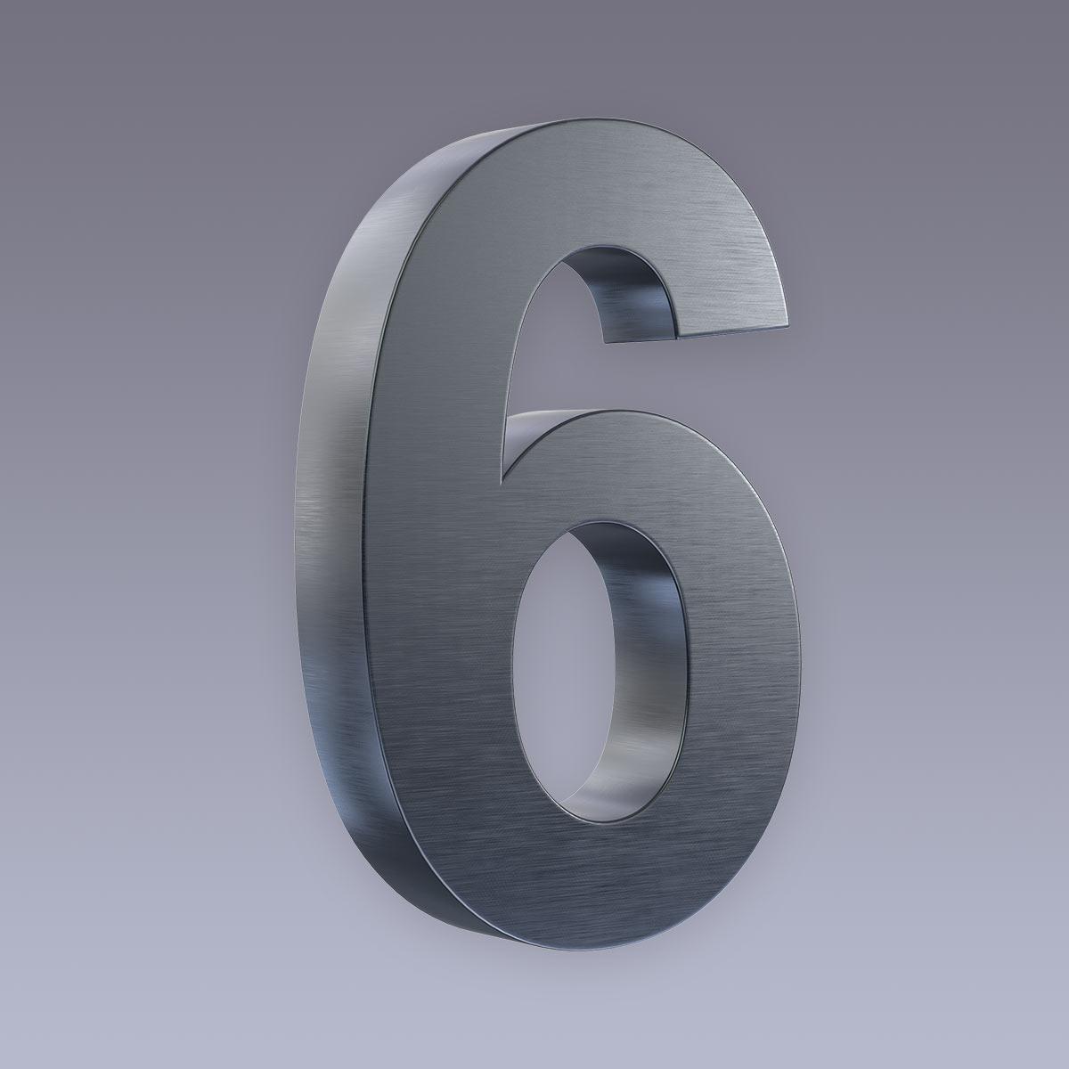 3D Hausnummer 6 Edelstahl anthrazit RAL7016 in 3D Design Arial