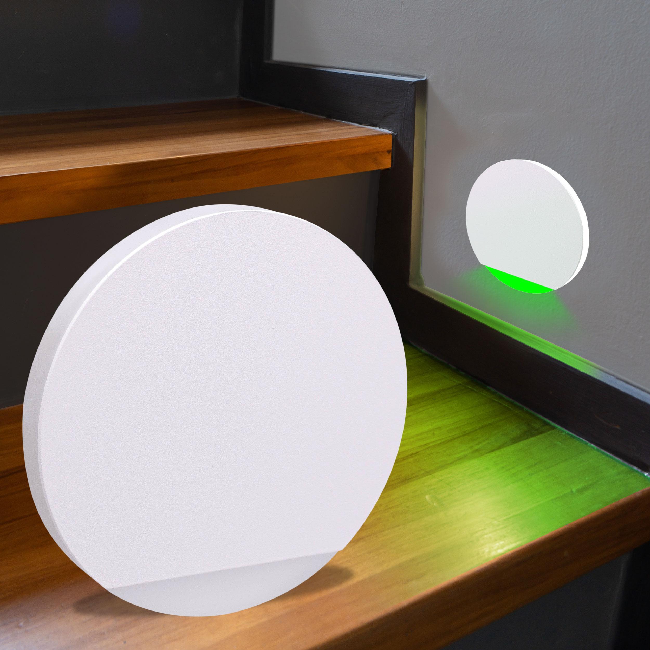 LED Treppenbeleuchtung rund RGB+Warmweiß 230V 3W weiß Lichtaustritt seitlich&frontal