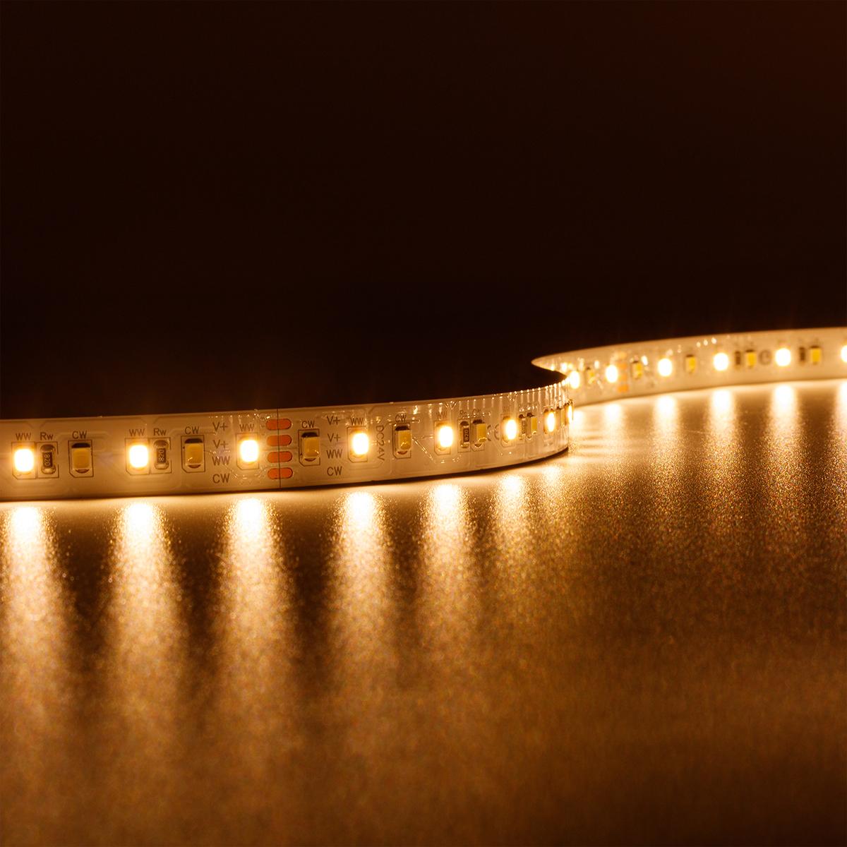 Strip CCT Dual Weiß 24V LED Streifen 5M 18W/m 120LED/m 12mm IP20 Lichtfarbe einstellbar 2700-6000K