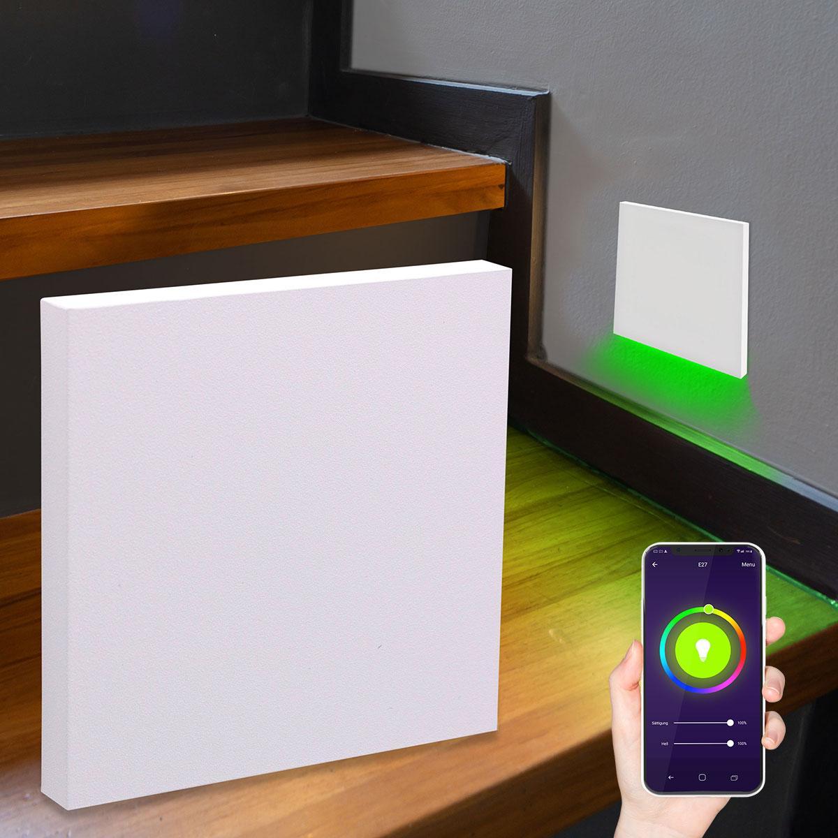 LED Treppenlicht Wandeinbauleuchte Smart Tuya RGB+CCT 230V 5W weiß Lichtaustritt unten