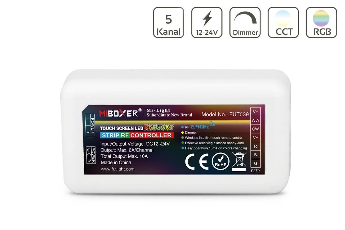 MiBoxer RGB+CCT LED Controller 5 Kanal 12/24V Multifunktion LED Strip Panel Steuerung FUT039