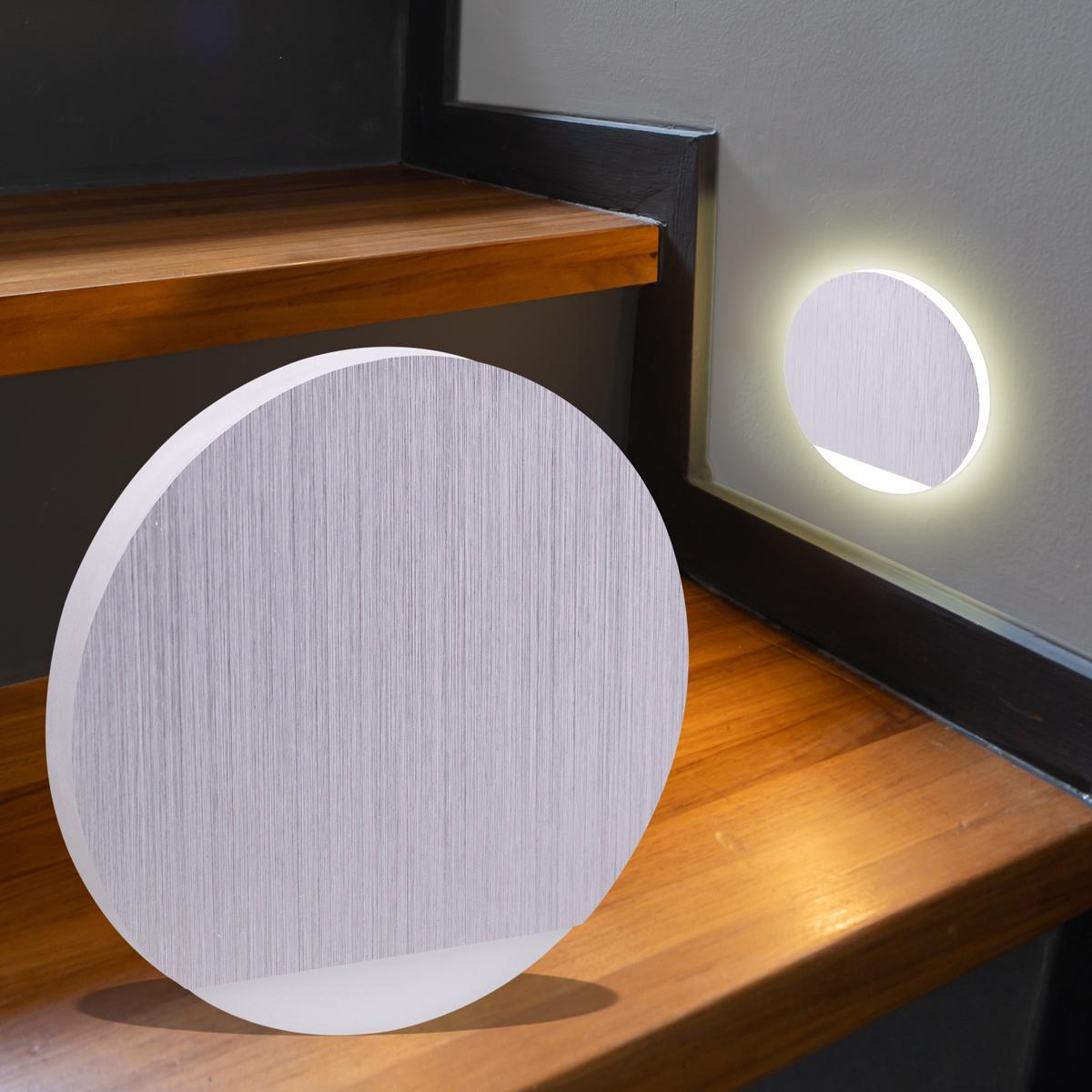 LED Treppenbeleuchtung rund Warmweiß 230V 1.5W Alu-gebürstet Lichtaustritt seitlich&frontal