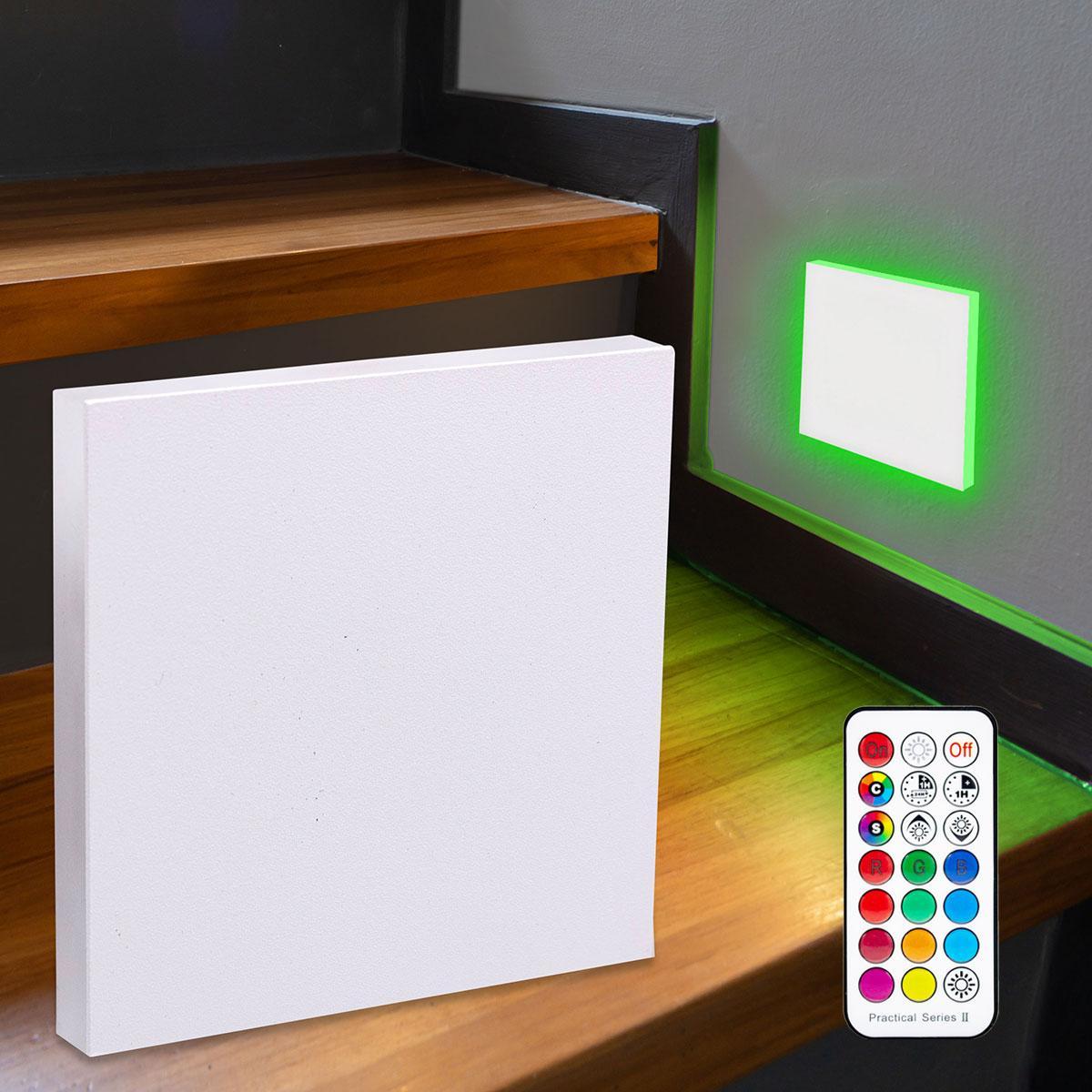 LED Treppenbeleuchtung Wandeinbauleuchte RGB+Warmweiß 230V 3W weiß Lichtaustritt seitlich