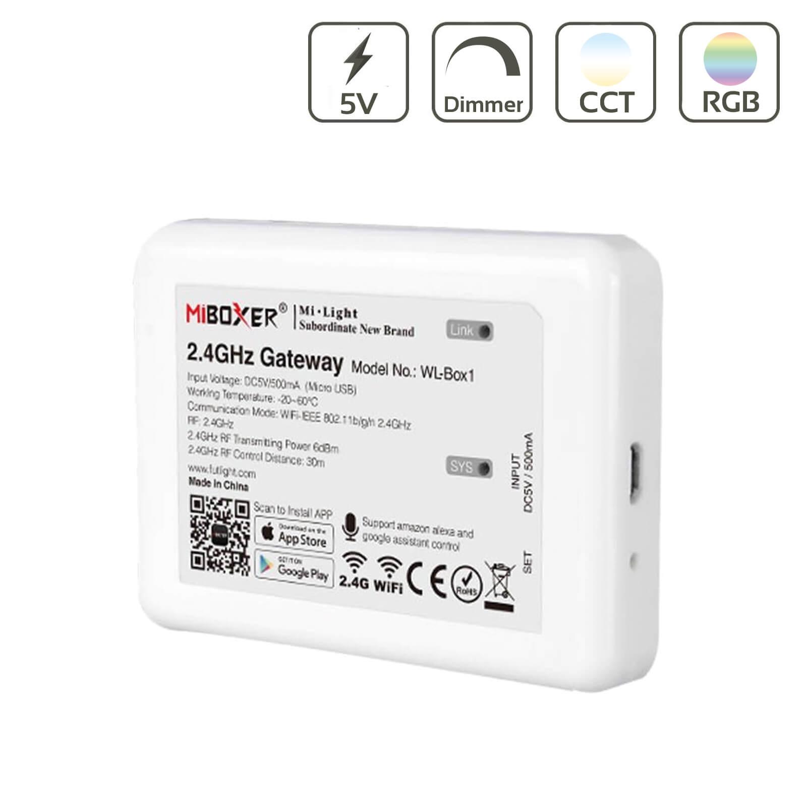 MiBoxer WiFi 2,4GHz Bridge Alexa und Google Sprachsteuerung Gateway WL-Box1