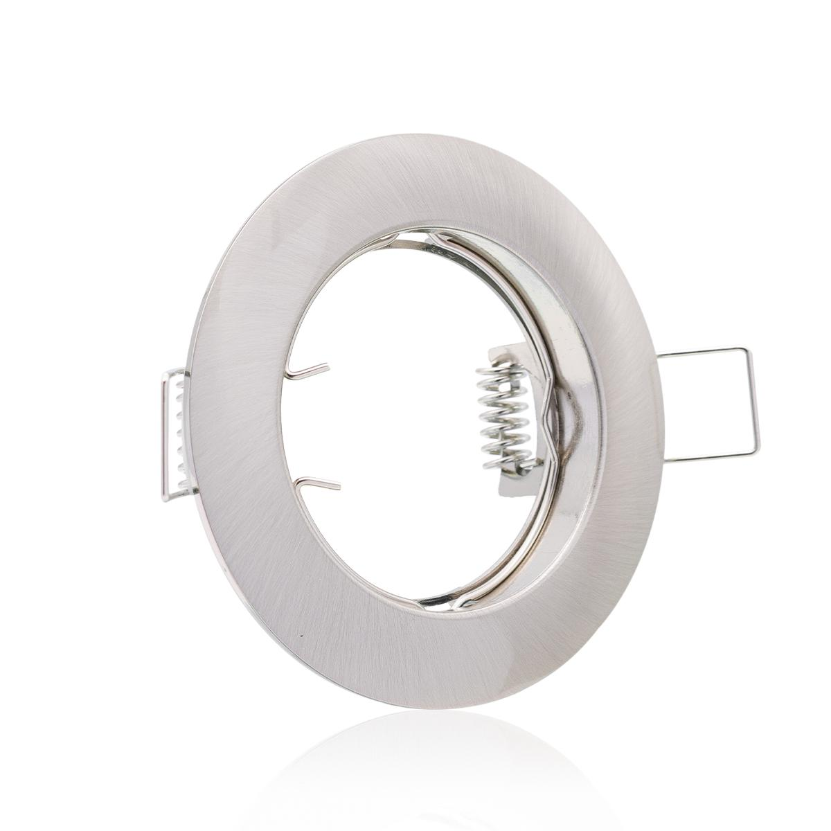 Einbaustrahler  Rahmen rund Edelstahl gebürstet Optik starr Ring Decken Spot Sprengring