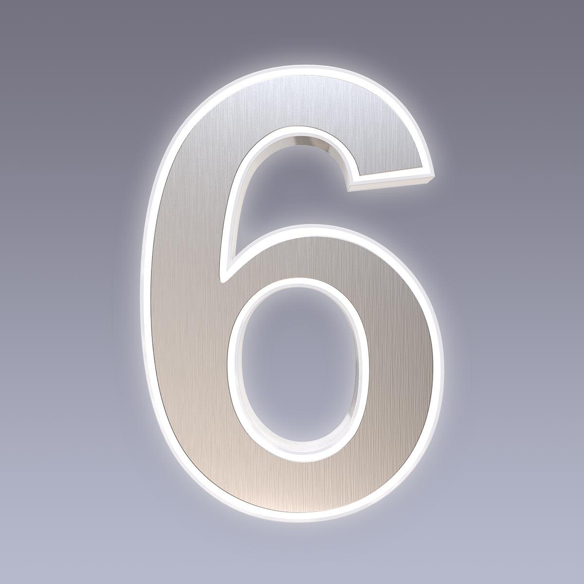 Cover für 15cm Hausnummer 6 Edelstahl Arial selbstklebend