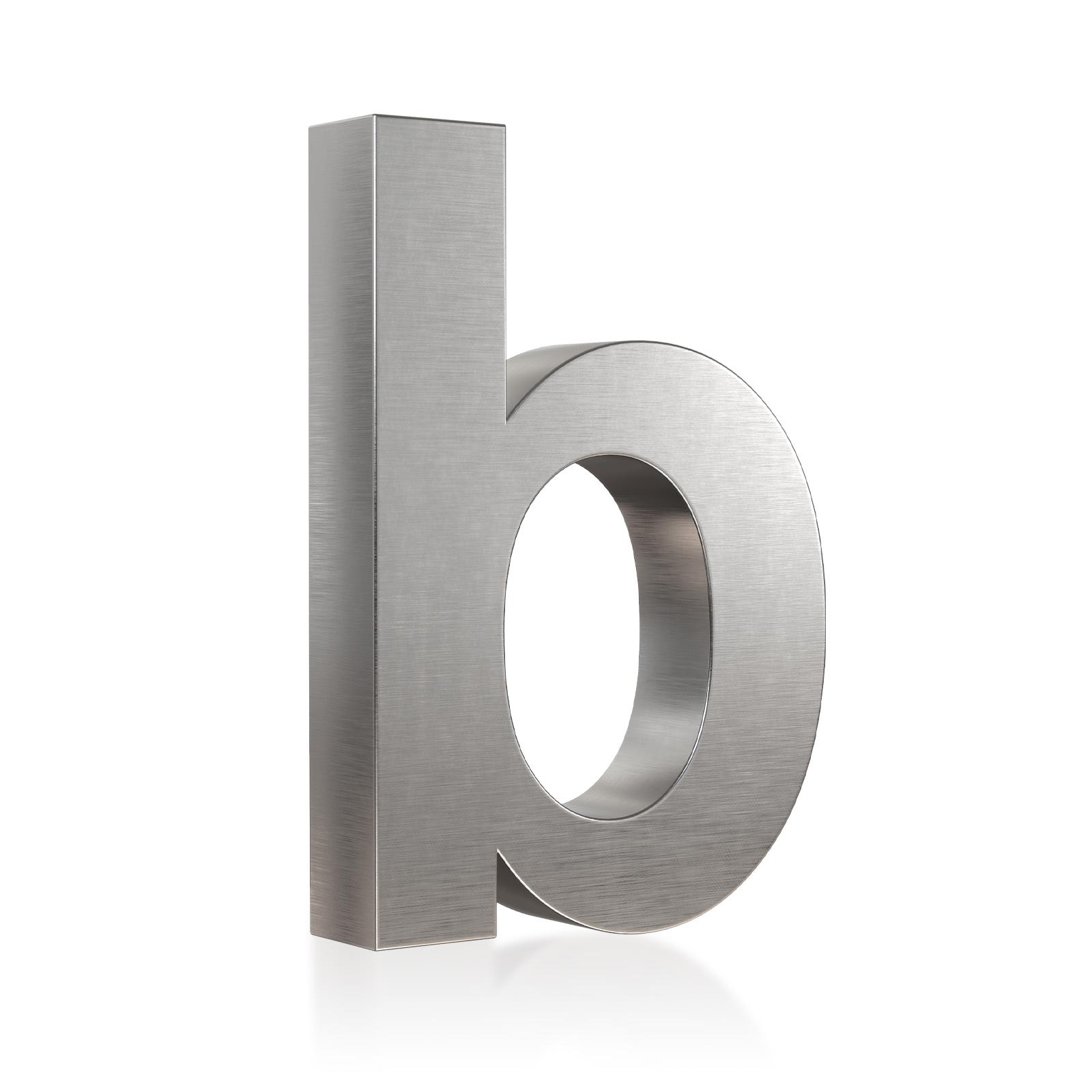 3D Hausnummer b Edelstahl in 3D Design Arial V2A