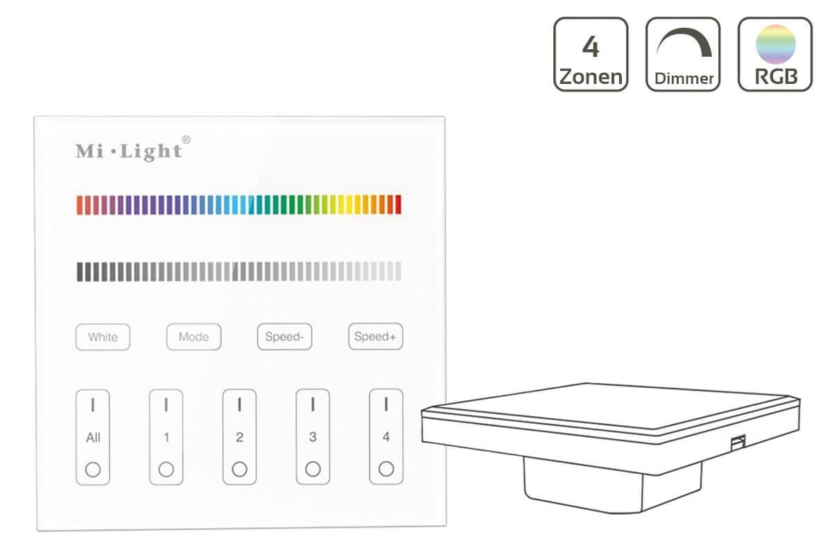 MiBoxer RGBW Wandschalter 4 Zonen Einbau Dimmen Schalten Farbsteuerung 230V Anschluss T3