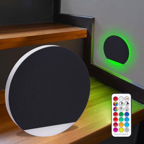 LED Treppenbeleuchtung rund RGB+Warmweiß 230V 3W schwarz Lichtaustritt seitlich&frontal