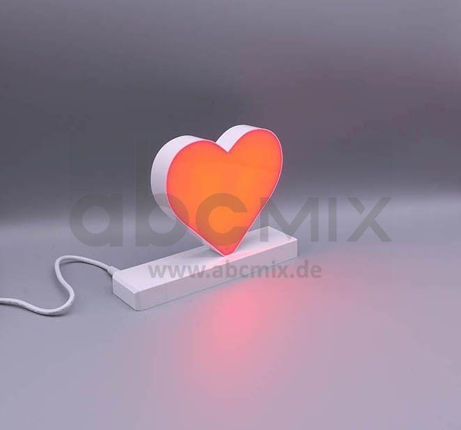 LED Buchstabe Klick rotes Herz für 125 mm Arial 6500K weiß