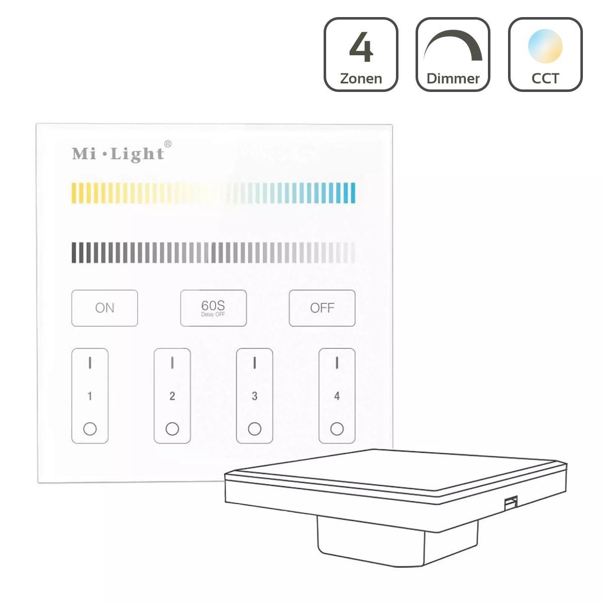 MiBoxer CCT Wandschalter 4 Zonen Einbau Dimmen Schalten Farbsteuerung 230V Anschluss T2