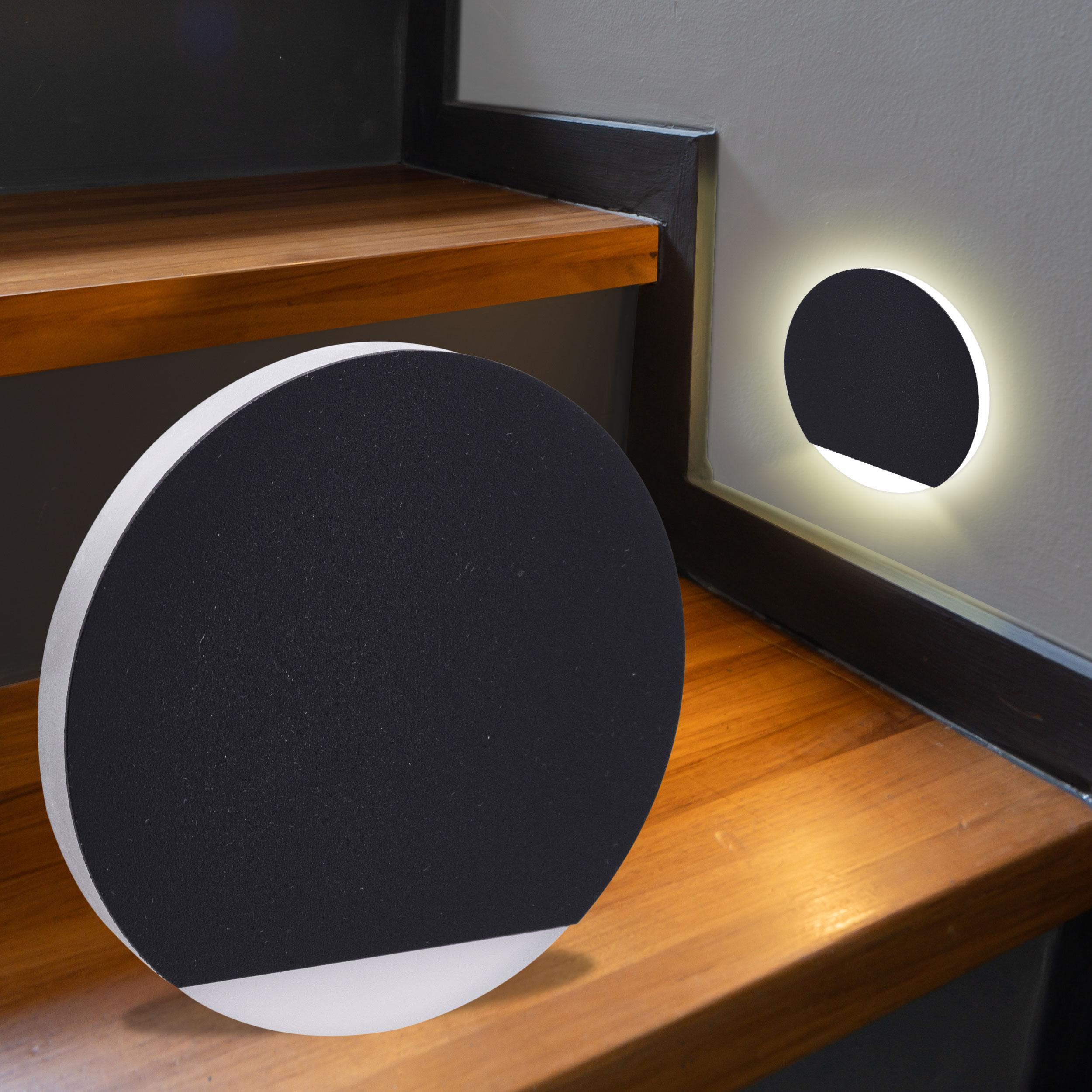 LED Treppenbeleuchtung rund Warmweiß 230V 1.5W schwarz Lichtaustritt seitlich&frontal