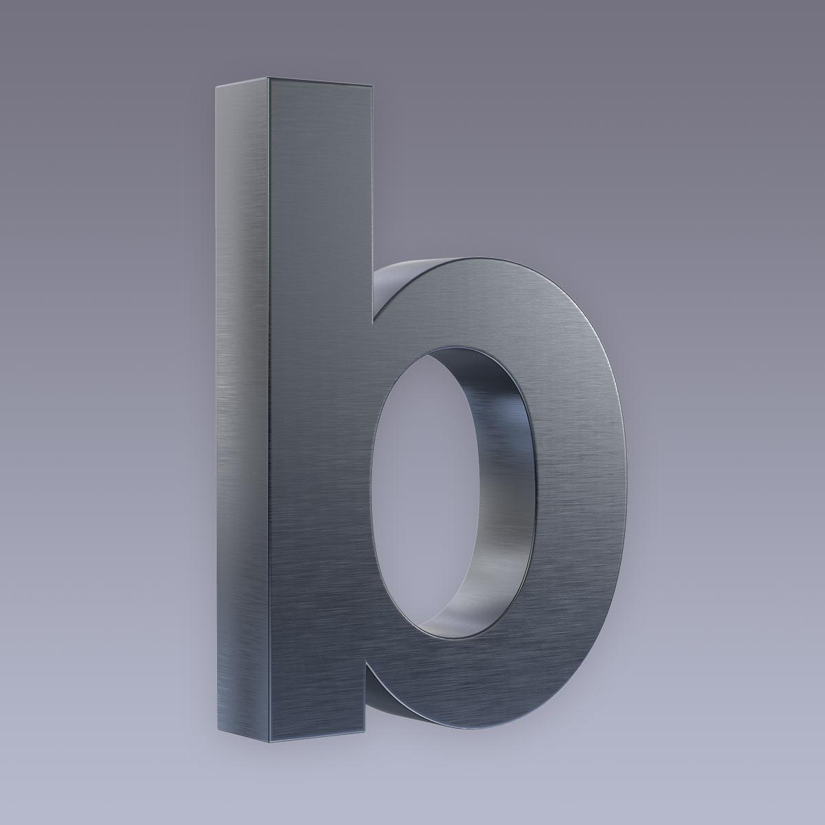 3D Hausnummer b Edelstahl anthrazit RAL7016 in 3D Design Arial