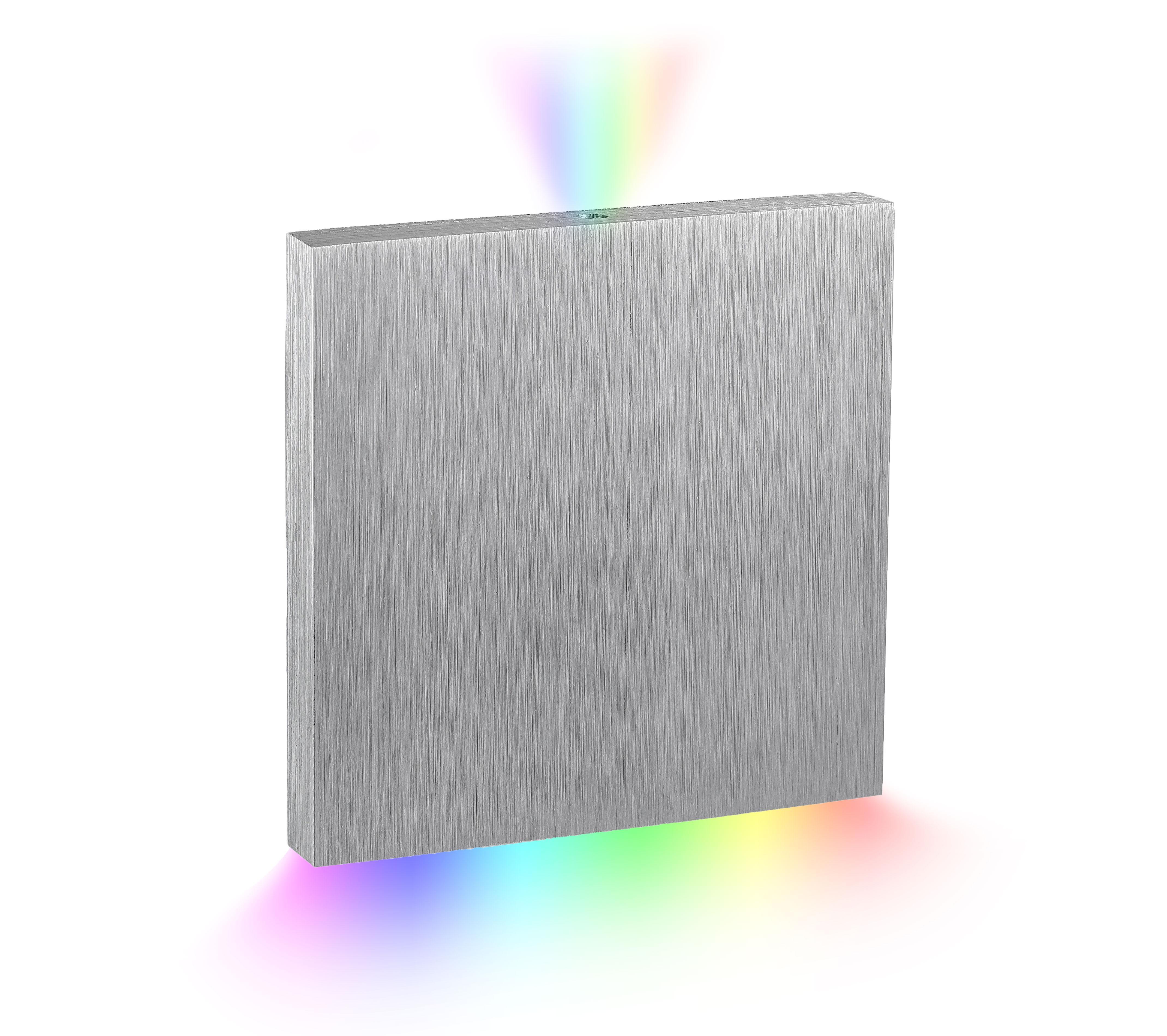 LED Stufenbeleuchtung Oberteil eckig, alugebürstet | Lichtaustritt oben & unten - Unterteil Wandeinbauleuchte:  RGB+3000K