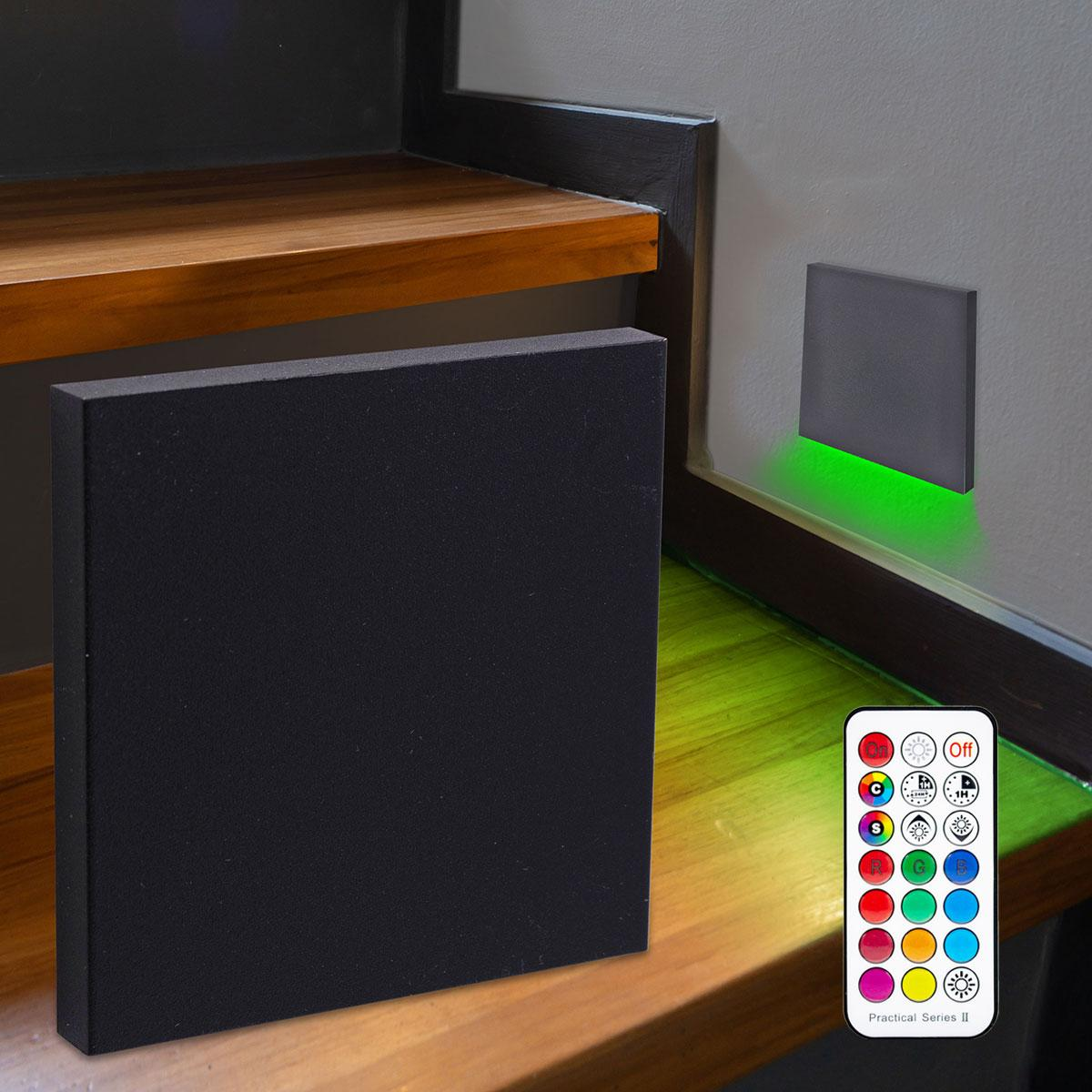 LED Treppenbeleuchtung Wandeinbauleuchte RGB+Warmweiß 230V 3W schwarz Lichtaustritt unten