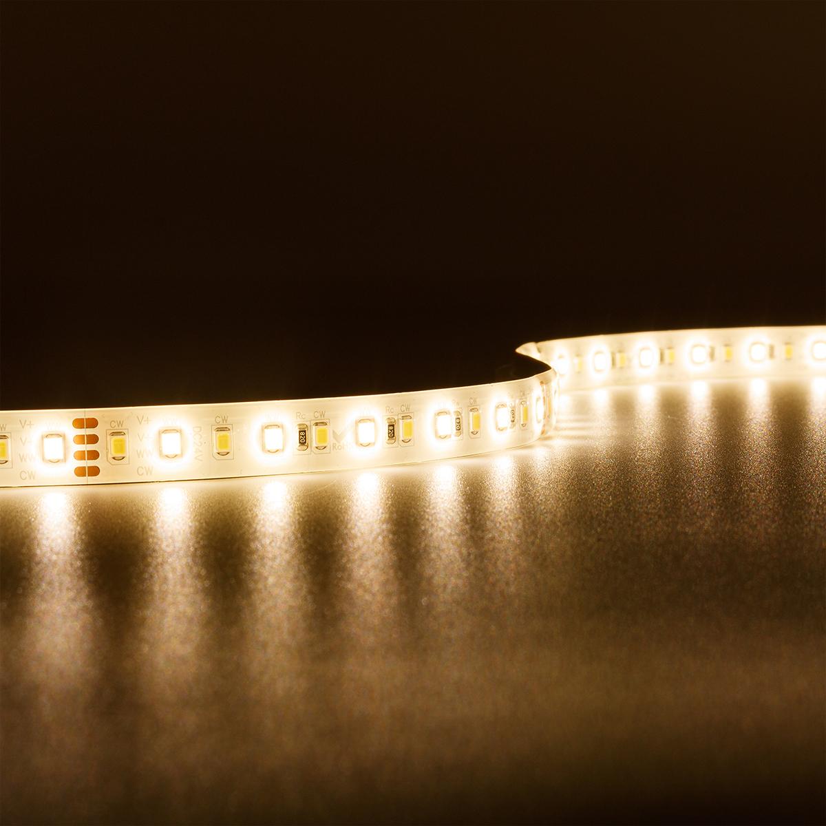 Strip CCT Dual Weiß 24V LED Streifen 5M 18W/m 120LED/m 12mm IP65 Lichtfarbe einstellbar 2700-6000K
