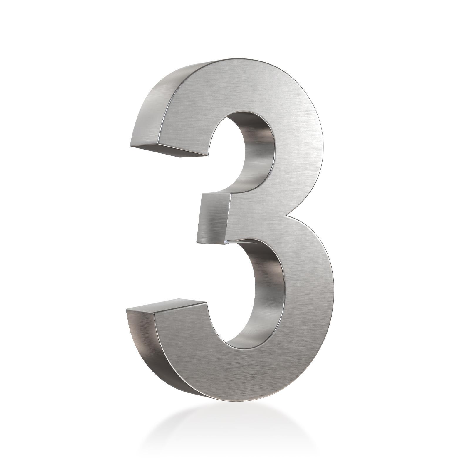3D Hausnummer 3 Edelstahl in 3D Design Arial V2A