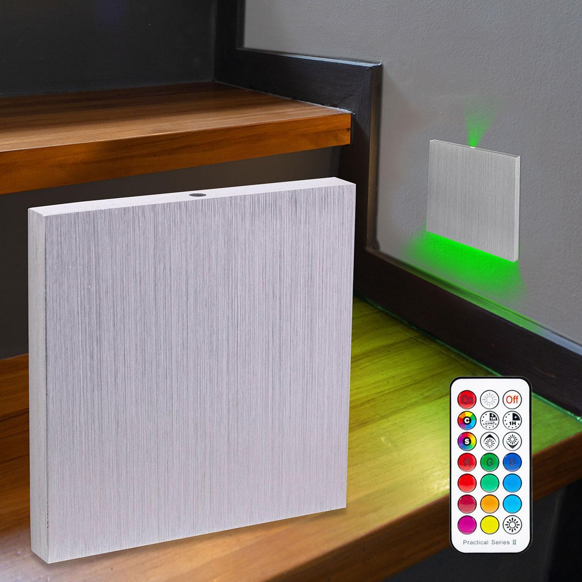 LED Treppenbeleuchtung Wandeinbauleuchte RGB+Warmweiß 230V 3W Alu-gebürstet Lichtaustritt oben&unten