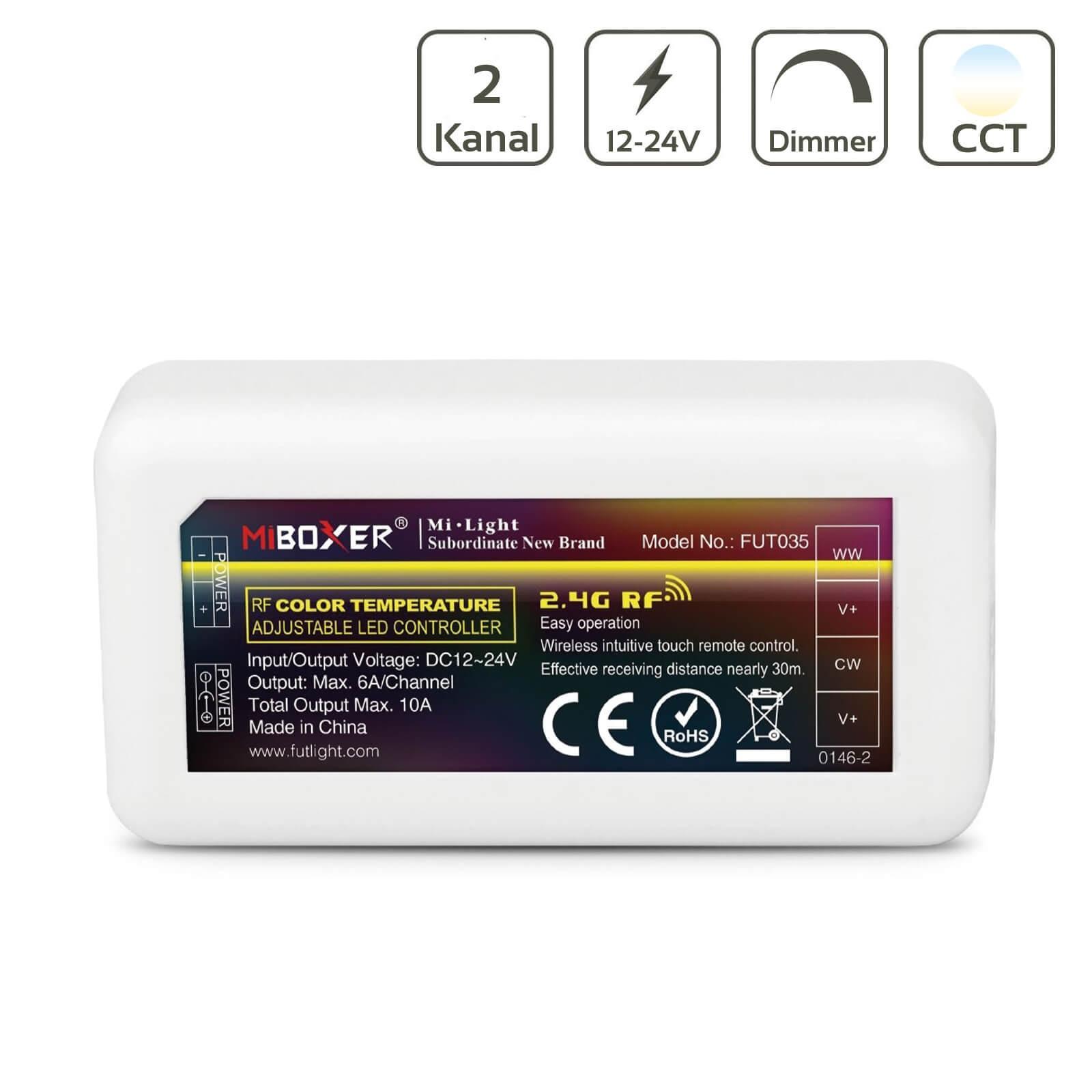 MiBoxer CCT LED Controller 2 Kanal 12/24V Multifunktion LED Strip Panel Steuerung FUT035