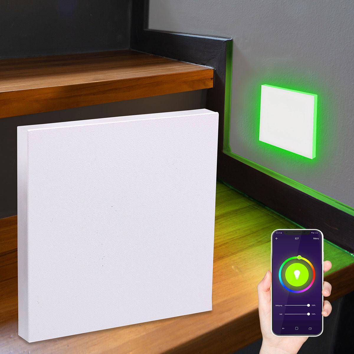 LED Treppenlicht Wandeinbauleuchte Smart Tuya RGB+CCT 230V 5W weiß Lichtaustritt seitlich
