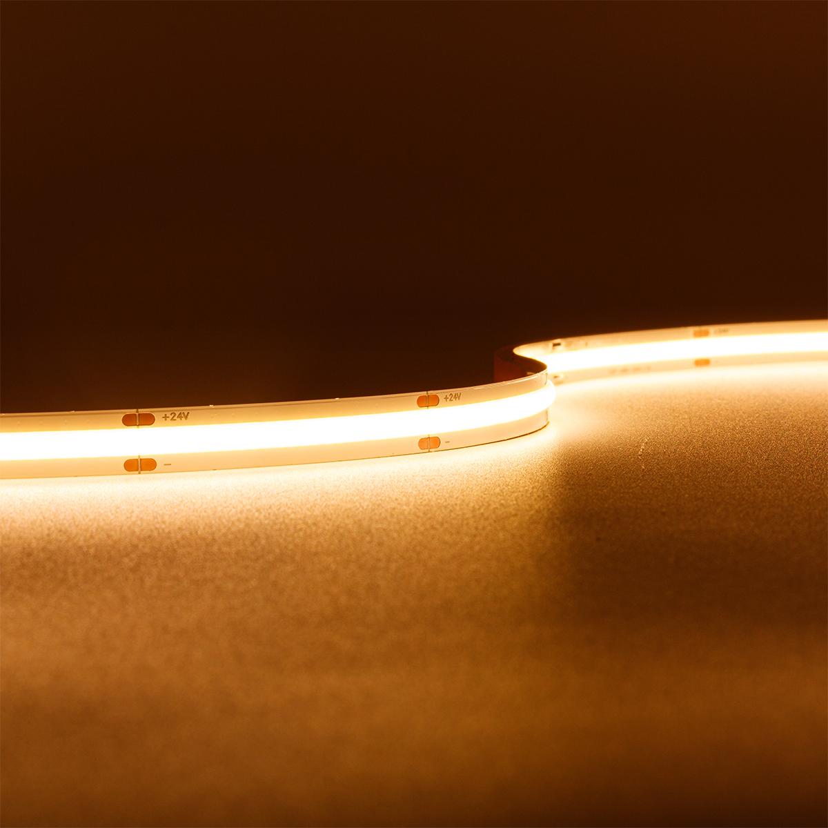 COB Warmweiß 24V CRI90 LED Streifen 5M 14W/m 504LED/m 10mm IP20 2700K