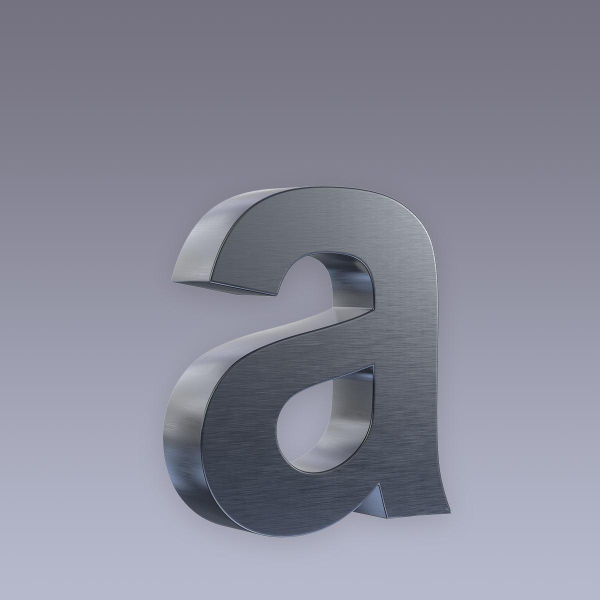 3D Hausnummer a Edelstahl anthrazit RAL7016 in 3D Design Arial