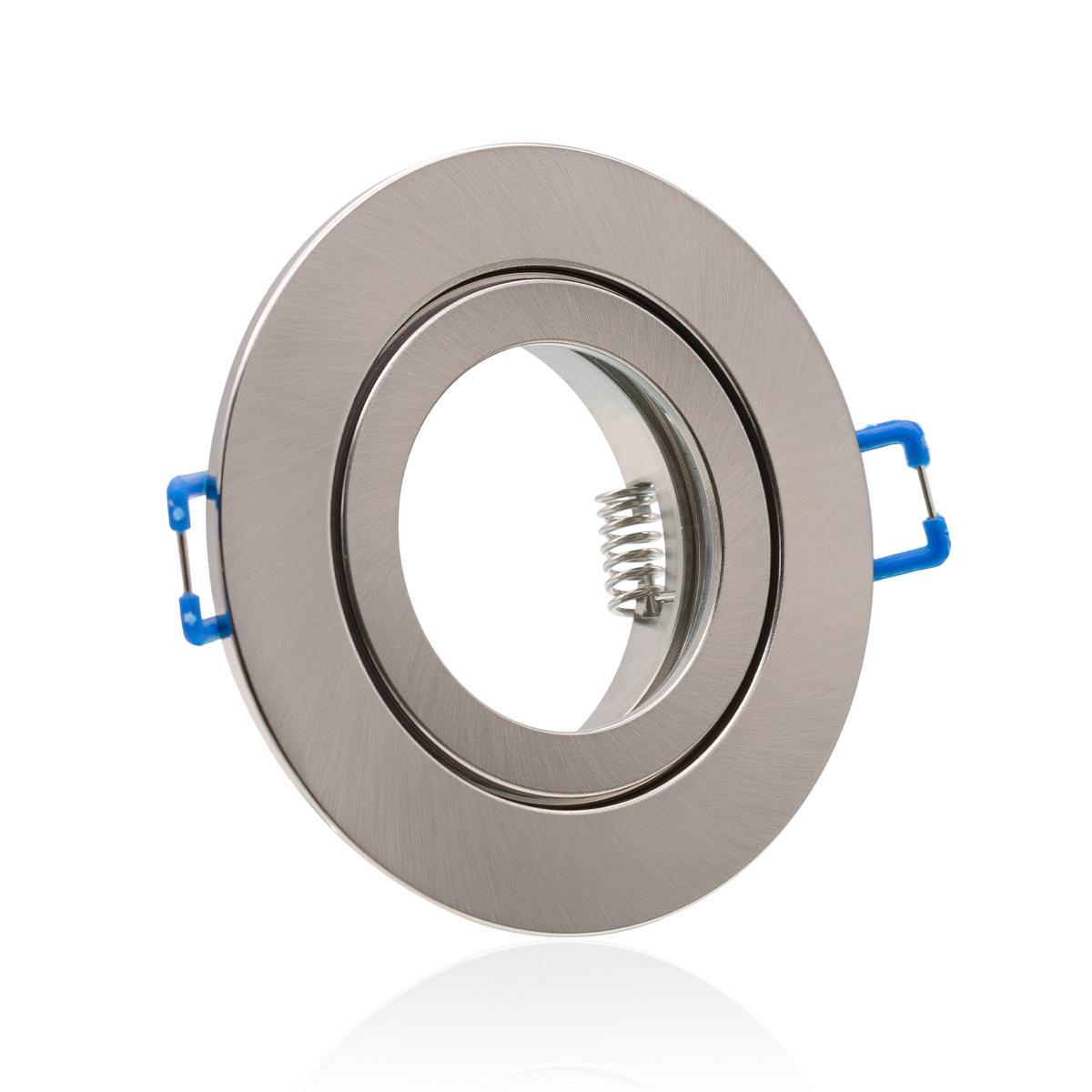 Einbaustrahler Rahmen rund Edelstahl gebürstet Optik starr IP44 Feuchtraum Klickverschluss