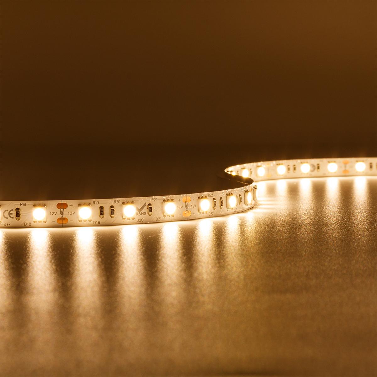 Strip Warmweiß 12V LED Streifen 5M 7,2W/m 30LED/m 10mm IP20 einfarbig 3000K