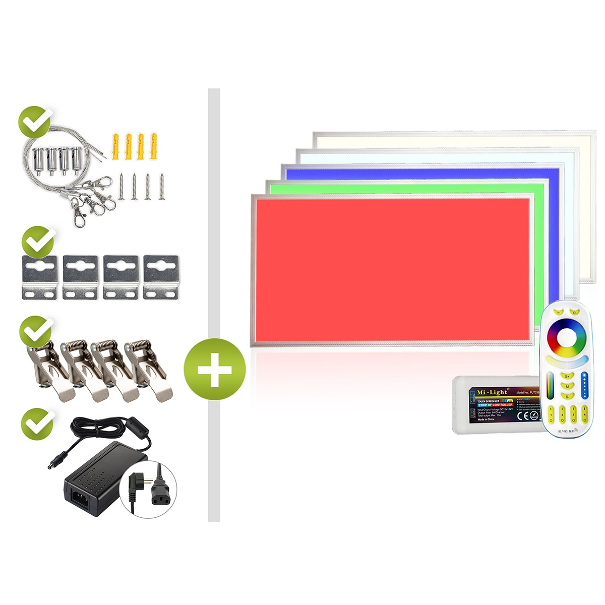 RGB+CCT LED Panel Set 1 120x60cm 44W 24V silber