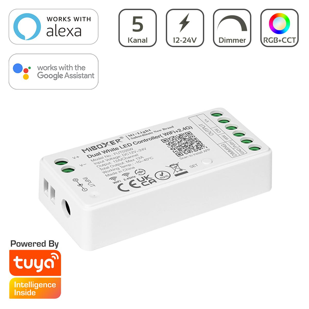 MiBoxer RGB+CCT WIFI LED Controller 5 Kanal 12/24V  WiFi Tuya Alexa Google FUT039W