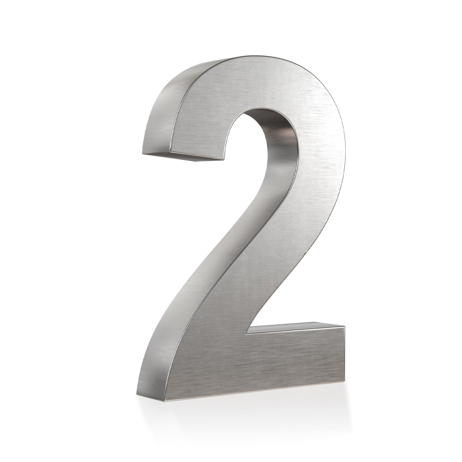 3D Hausnummer 2 Edelstahl in 3D Design Arial V2A